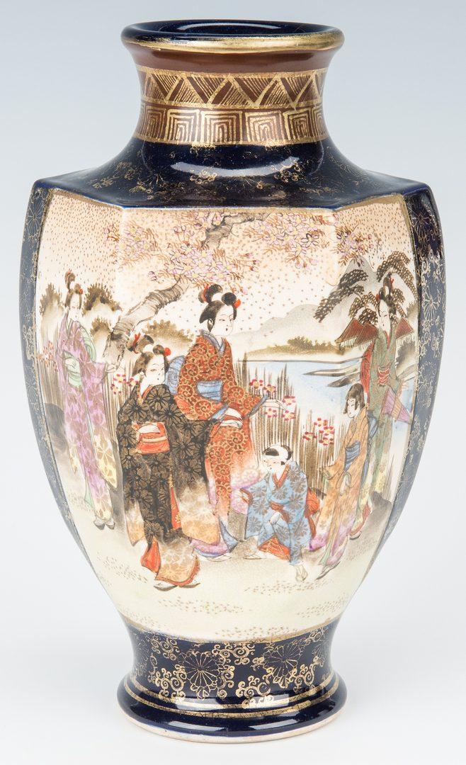 Lot 15: 7 Satsuma Vases with Cobalt, inc. Shimazu