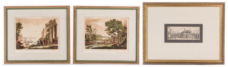 Lot 162: 3 early works on paper, Henriet, Earlom