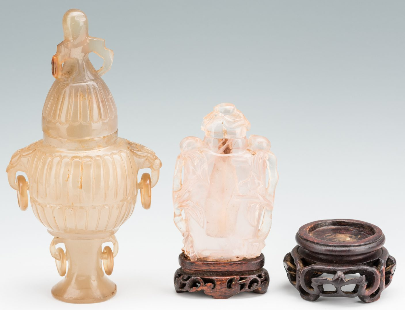 Lot 170: 2 Carved Chinese Quartz Items, Urn & Bottle