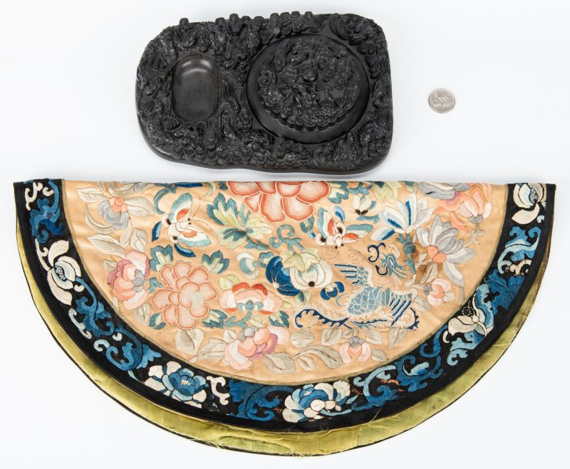 Lot 171: Chinese Carved Inkstone & Silk Embroidery, 2 items