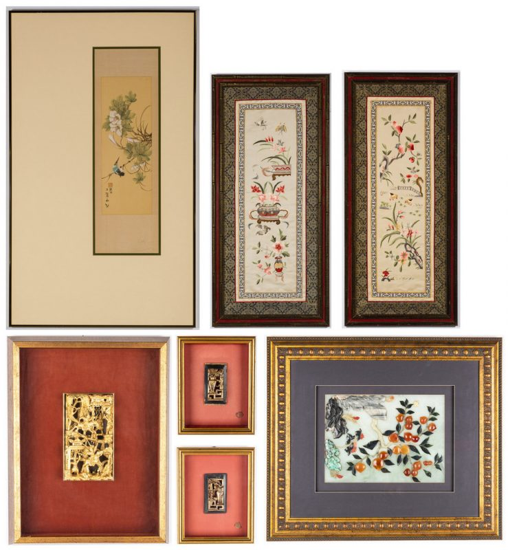 Lot 172: 7 Asian Framed Decorative Items