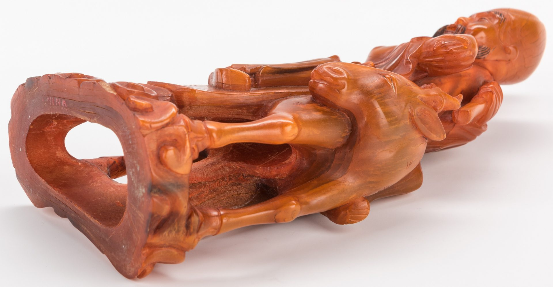 Lot 188: Chinese Carved Horn Sculpture, Immortal on Horseback
