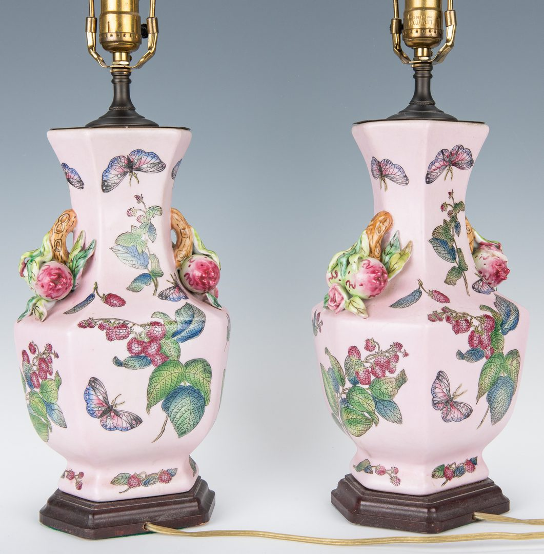 Lot 194: Pair Chinese Export Lamps w/ fruit handles