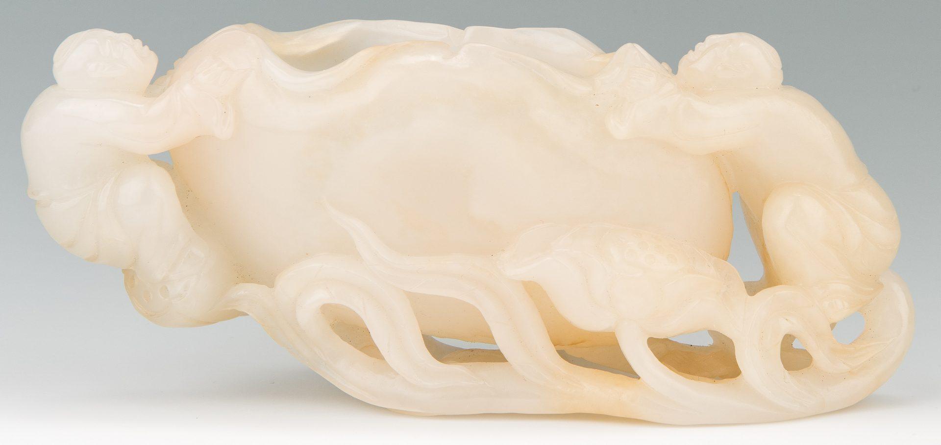 Lot 1: Chinese White Jade Brush Washer, Twins