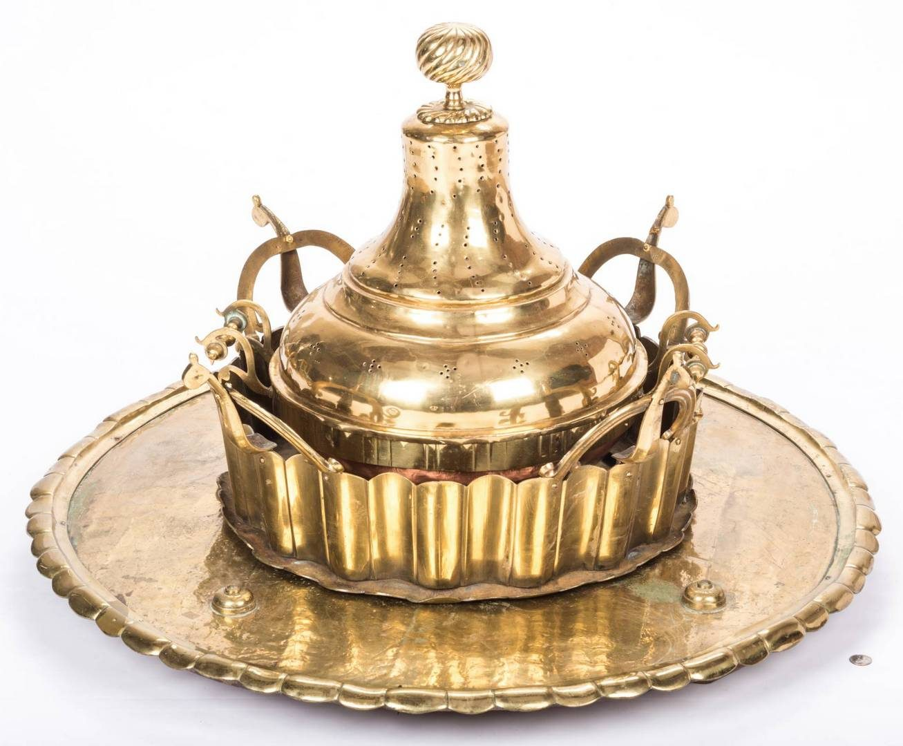Lot 206: Large Brass Brazier or Censer with tray, 4 pcs.