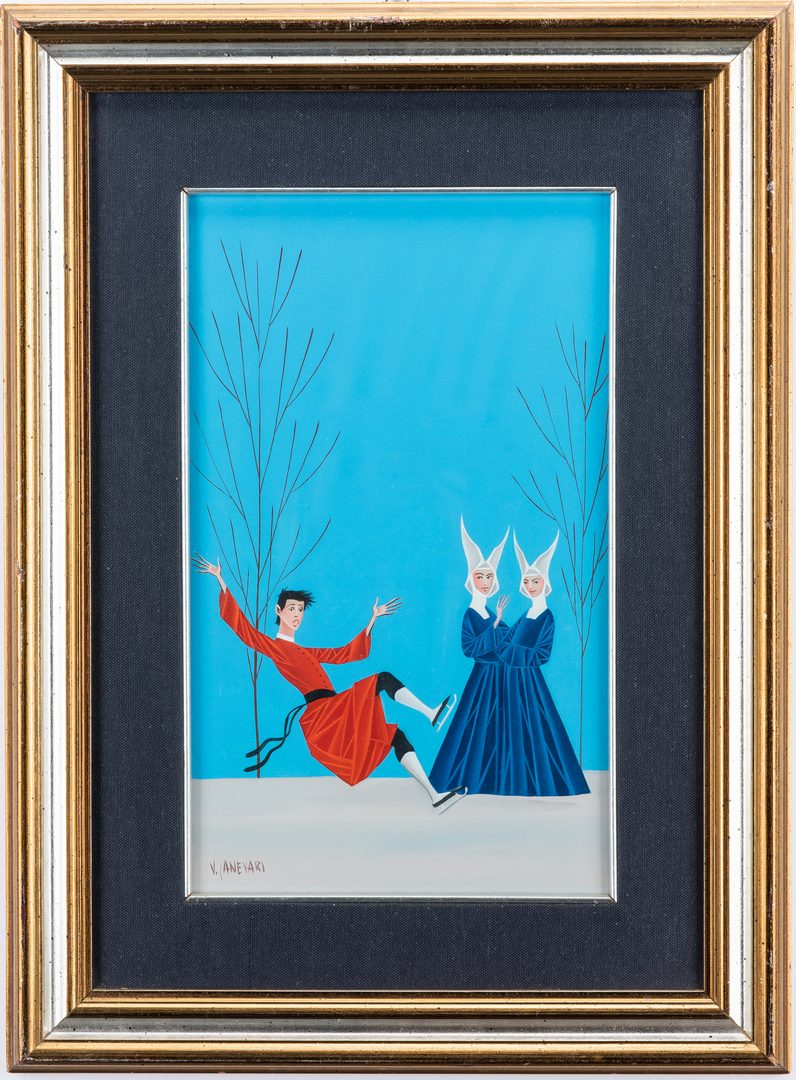 Lot 209: Veniero Canevari Oil on Panel, Monk on Ice Skates