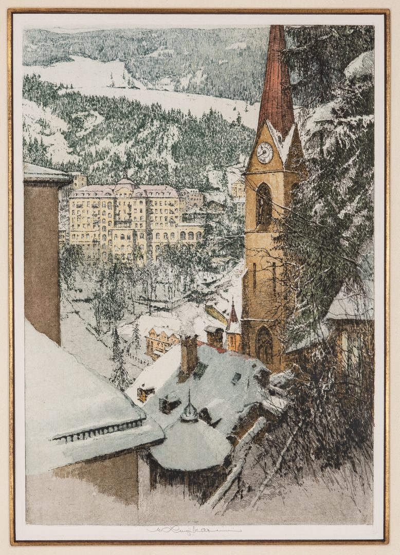 Lot 212: 3 Luigi Kasimir Colored Etchings