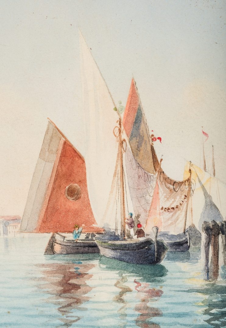 Lot 214: Umberto Ongania Watercolor Venetian Harbor Scene