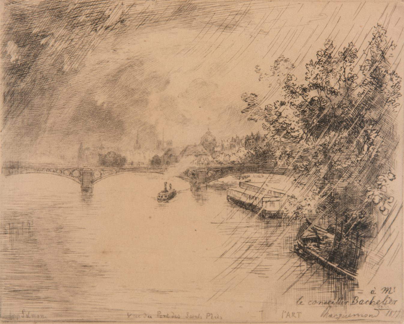 Lot 215: F. Bracquemond Etching & J. Jourdan Drawing, 2 items