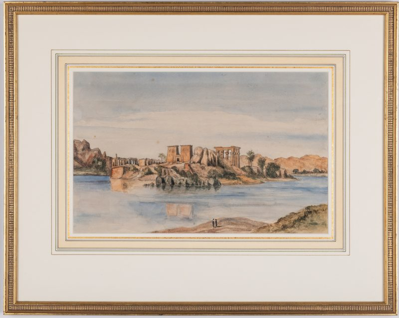 Lot 216: Continental School Watercolor, Egyptian Temple of Isis