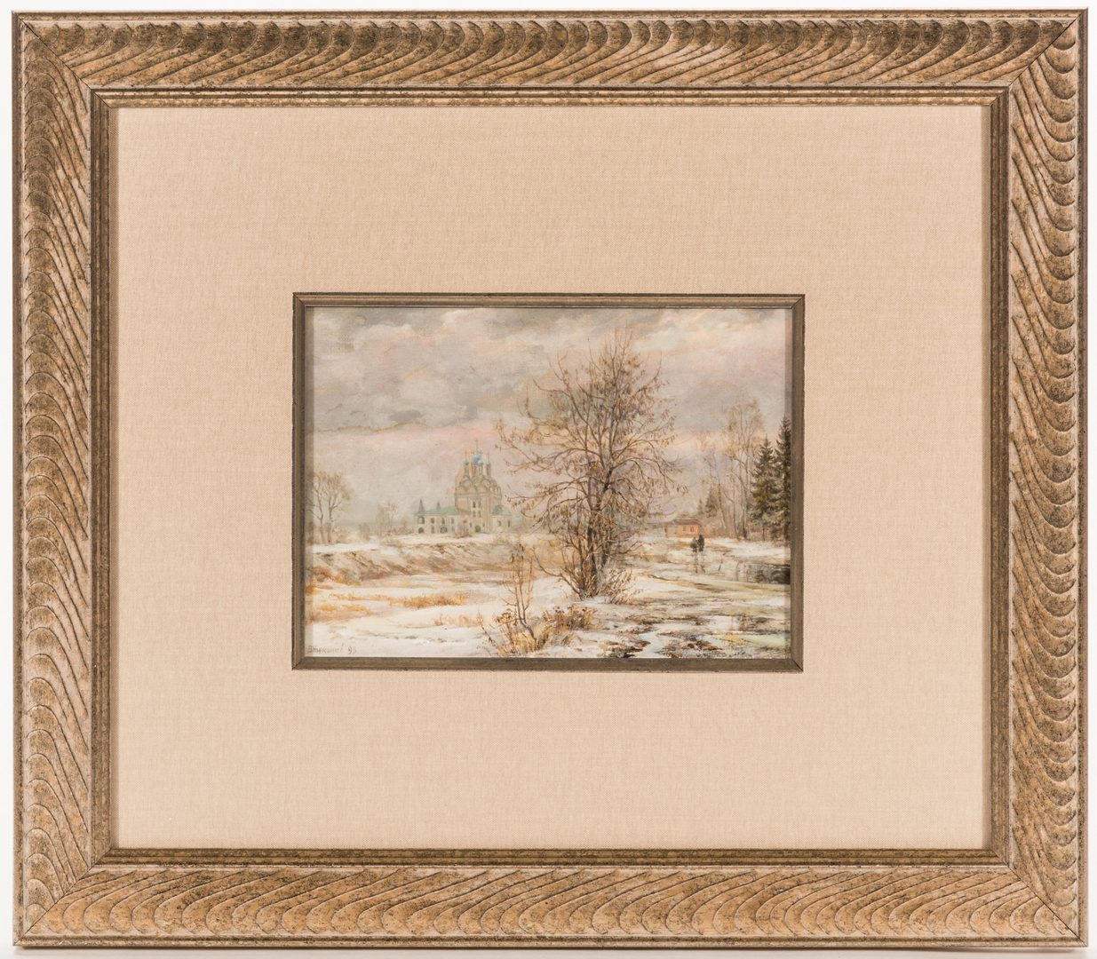 Lot 219: 2 Russian Oil on Board Church Landscapes