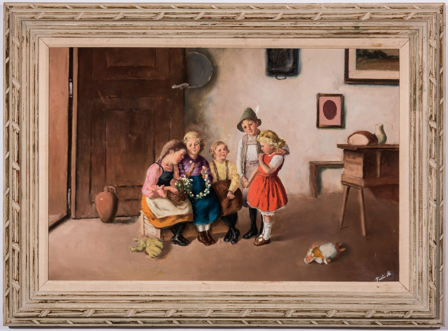 Lot 223: Interior Scene, Bavarian Children, O/C