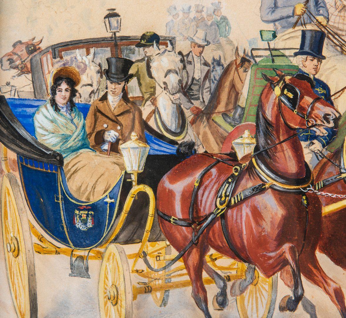Lot 224: Large European Watercolor Carriage Scene