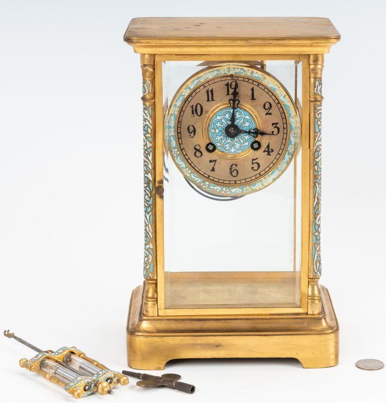 Lot 227: Japy Freres Crystal Regulator Clock w/Champleve Trim