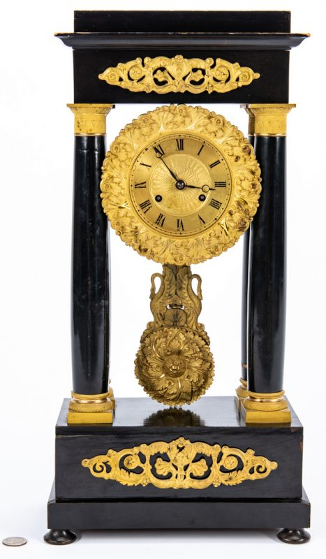 Lot 228: French Ebony and Ormolu Mantle Clock