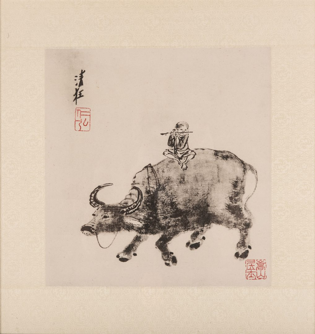 Lot 22: Framed Chinese Woodblock & Fan Painting