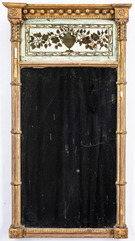 Lot 230: George III Giltwood & Eglomise Pier Mirror