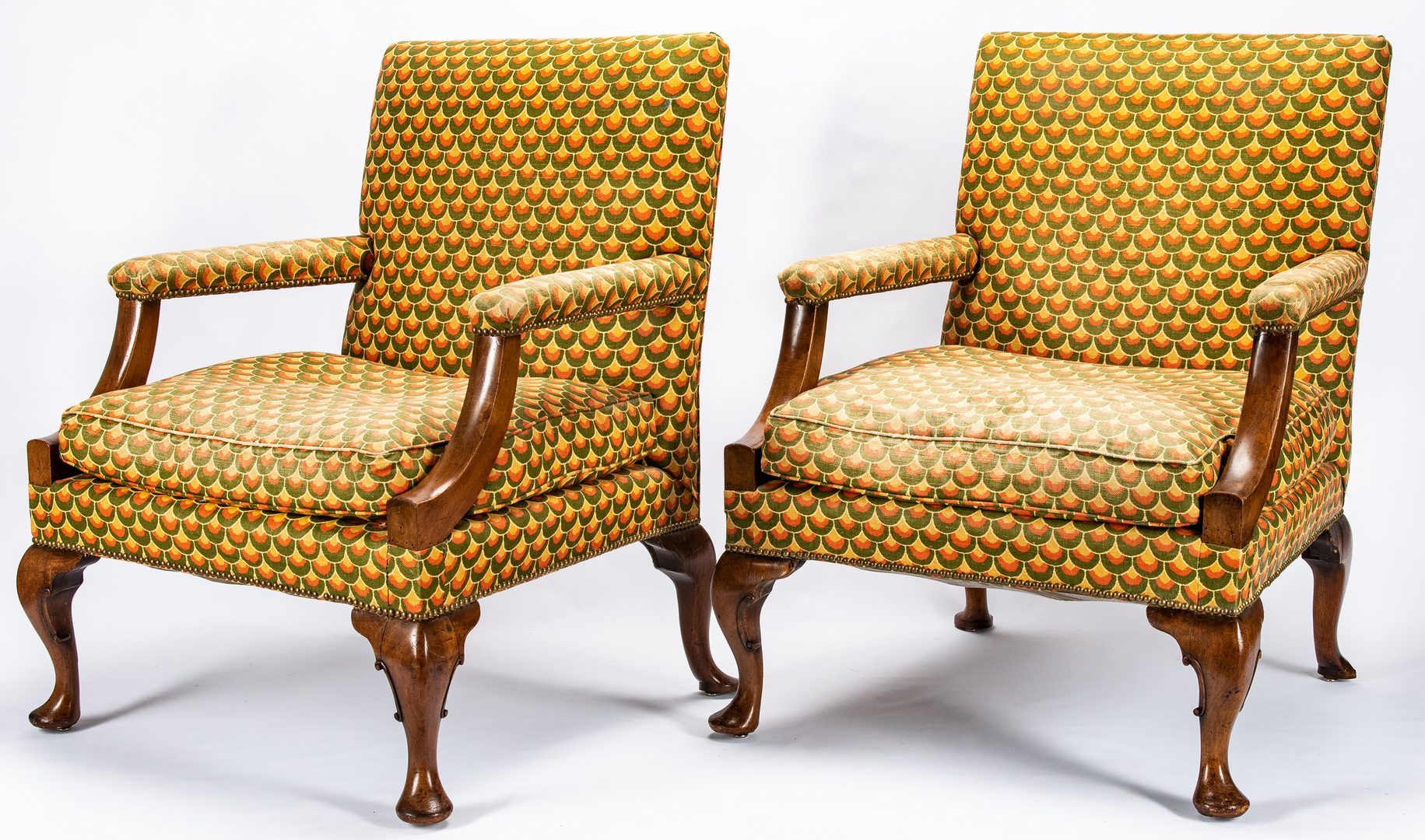 Lot 233: Pr. English Walnut Library Armchairs