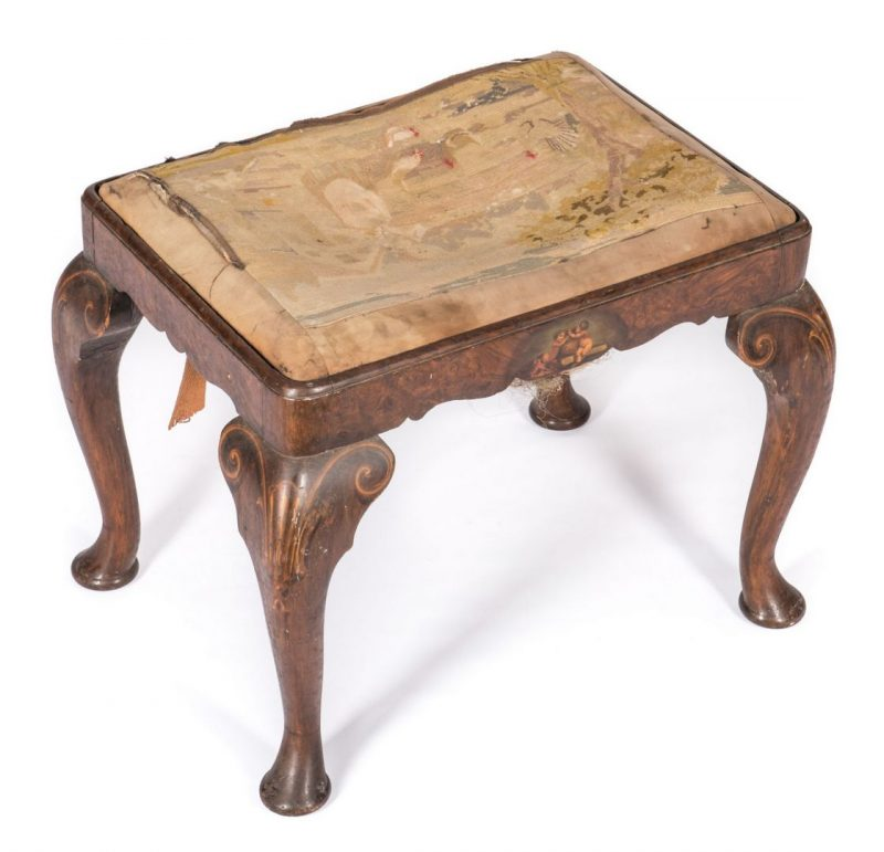 Lot 237: Continental Stool with Tapestry Seat