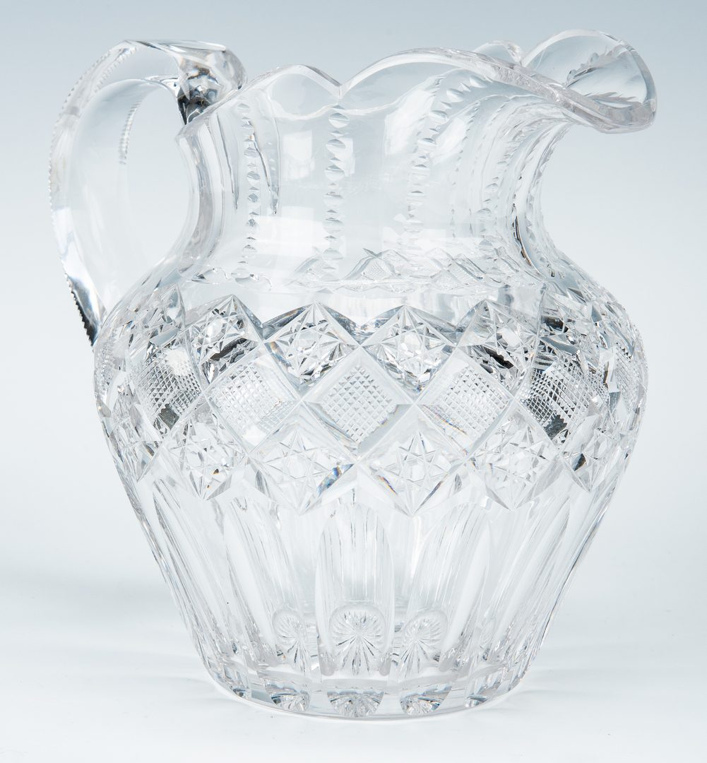 Lot 244: 2 Signed ABP Cut Glass Pieces, Tray & Pitcher