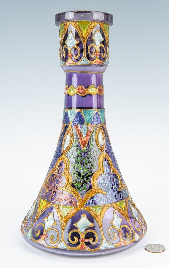Lot 246: Enameled Moorish Style Art Glass Vase