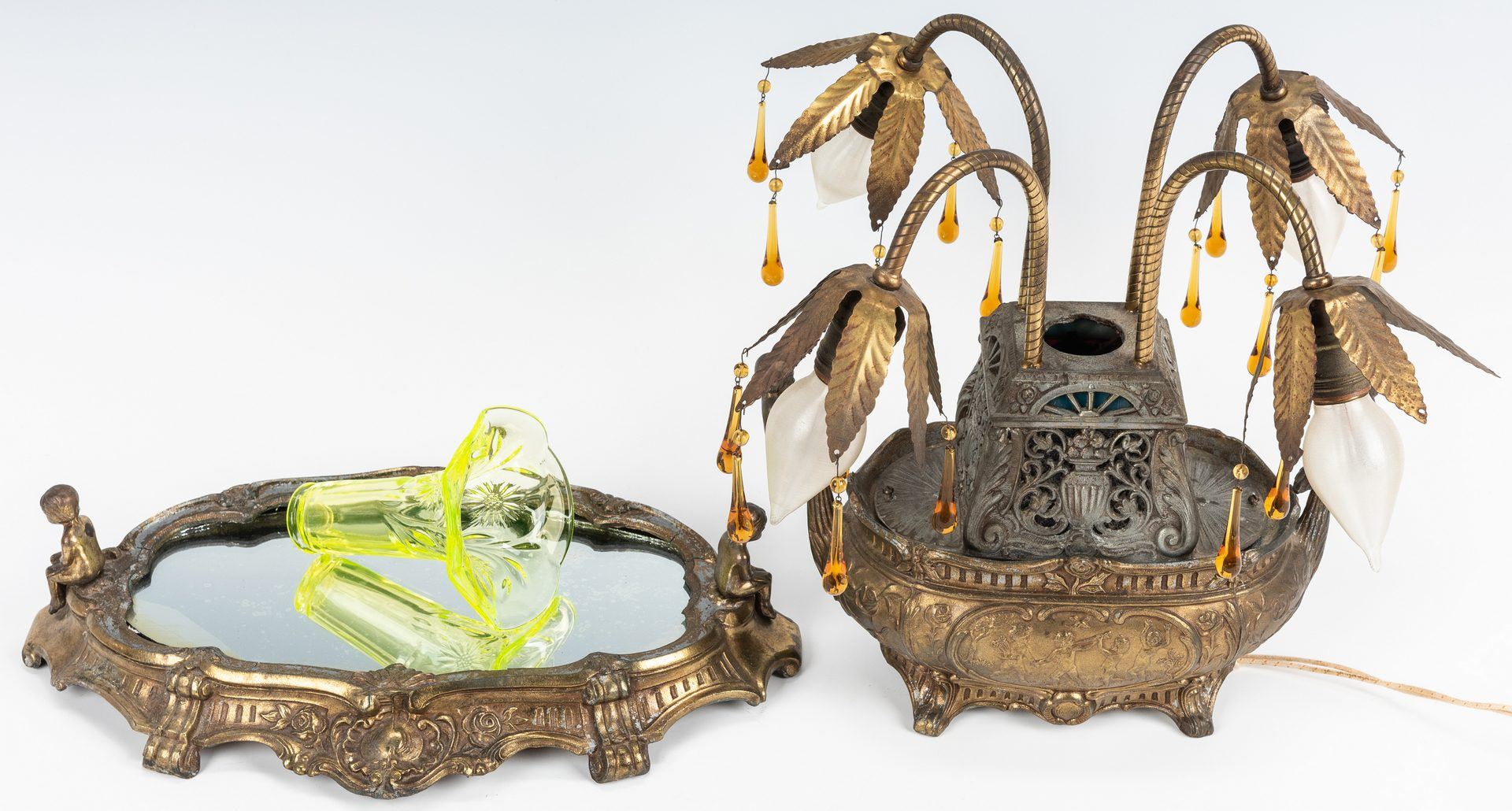 Lot 248: Orientalist Lamp w/ Art Glass Vase & Plateau