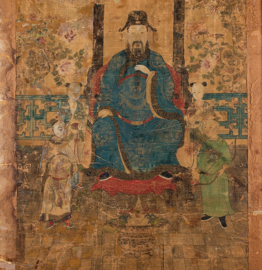Lot 24: Large Framed Chinese Scroll, Court Official w/ Boys