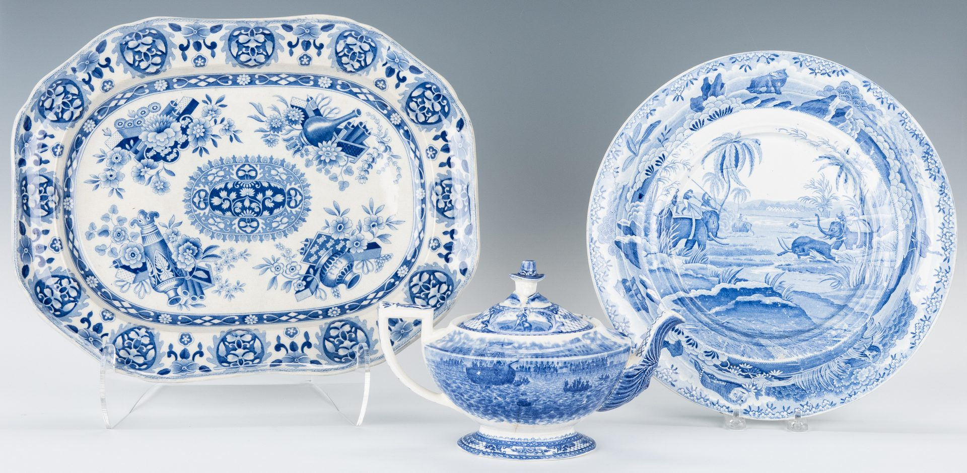 Lot 251: 3 Blue & White English Transferware Items