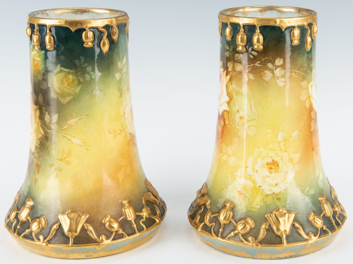 Lot 252: Pair Royal Bonn Art Nouveau Vases