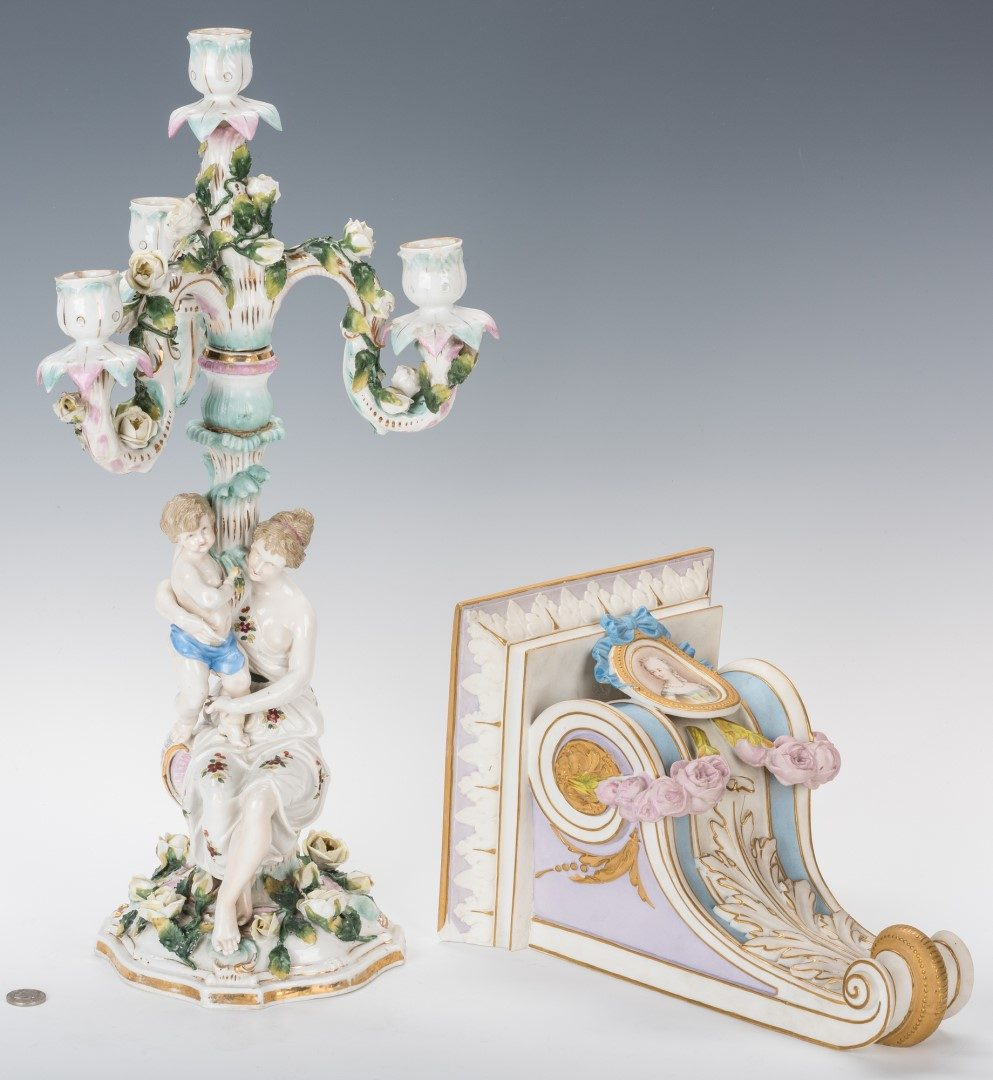 Lot 255: German Porcelain Candelabra; Decorated Bisque Wall, 2 items