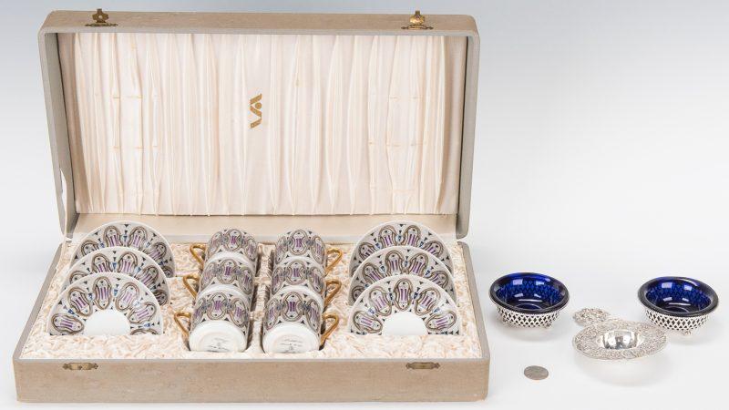 Lot 256: Mid-century Demitasse Set, Pr. Sterling Salt Cellars & Tea Strainer