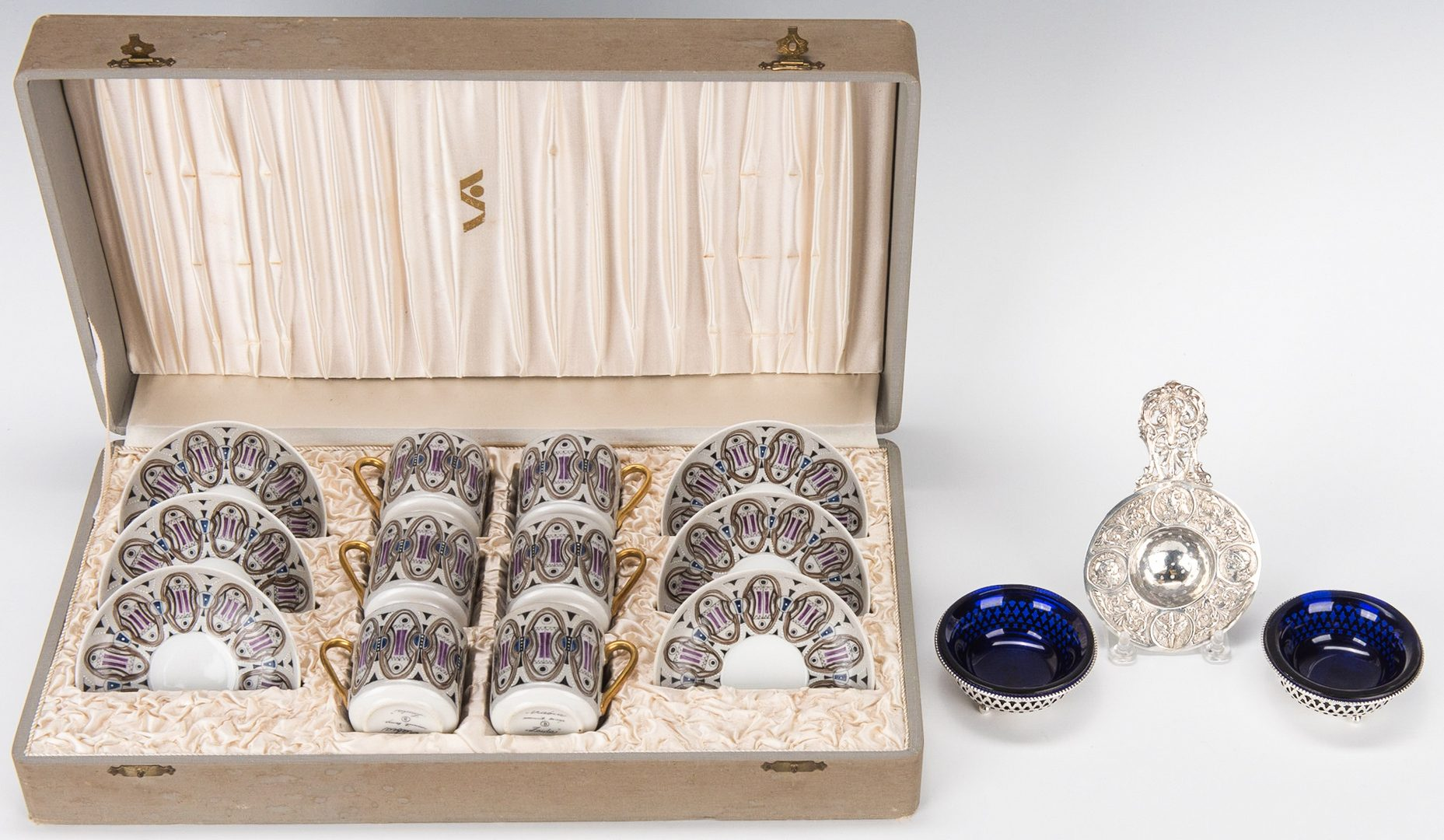 Lot 256: Mid-century Demitasse Set, Pr. Sterling Salt Cellars & Tea Strainer