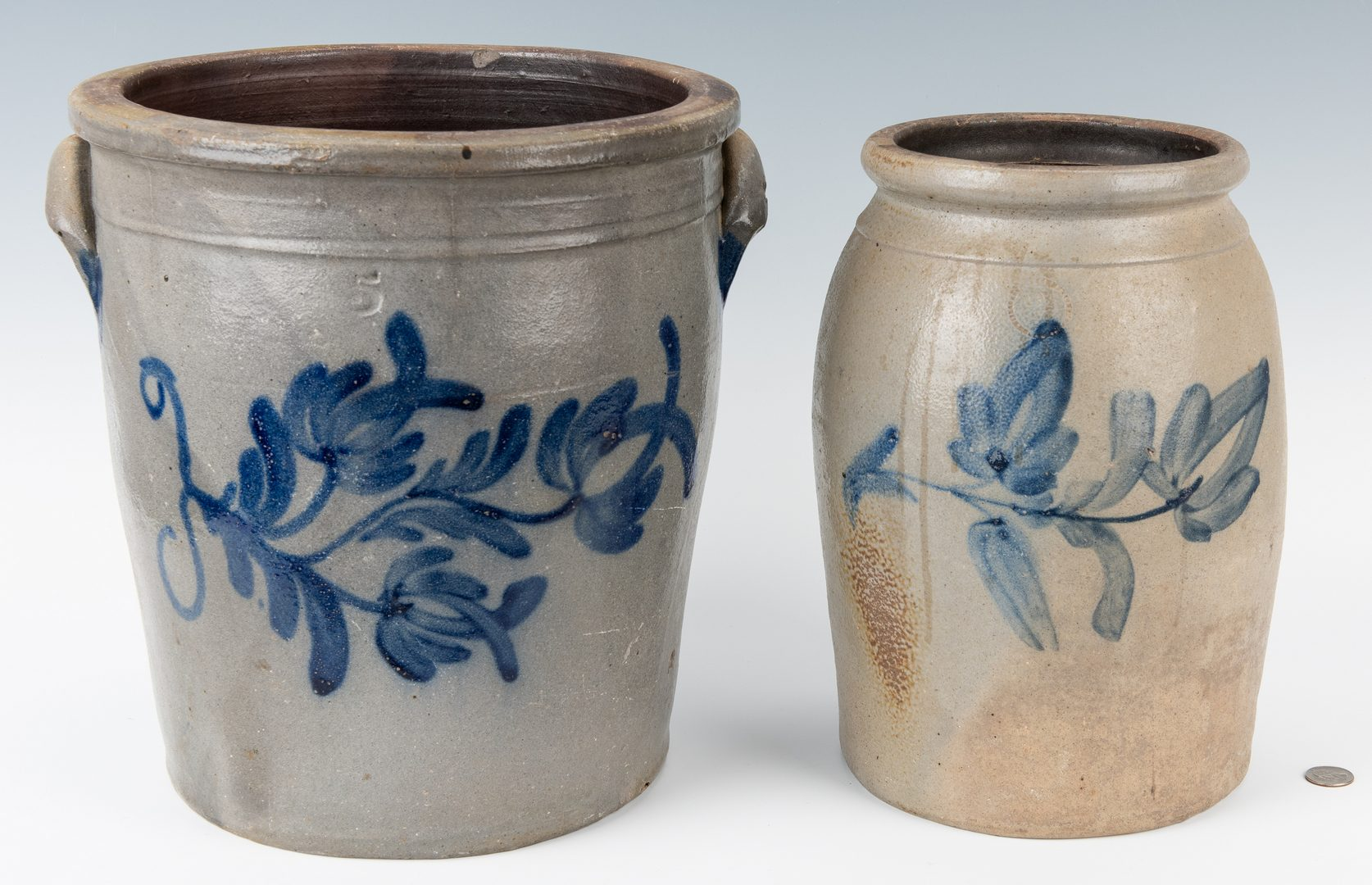 Lot 258: 2 Mid-Atlantic Cobalt Decorated Stoneware Items