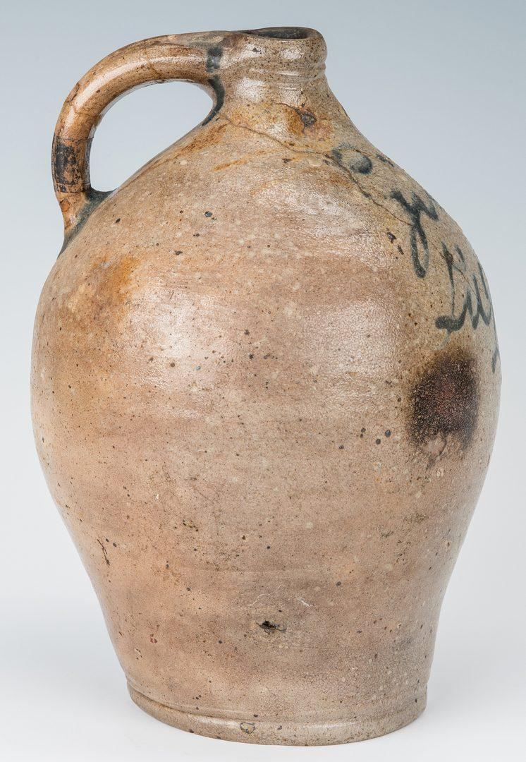 "Lot 259: New England Stoneware ""Gin"" Jug w/ Cobalt Script"