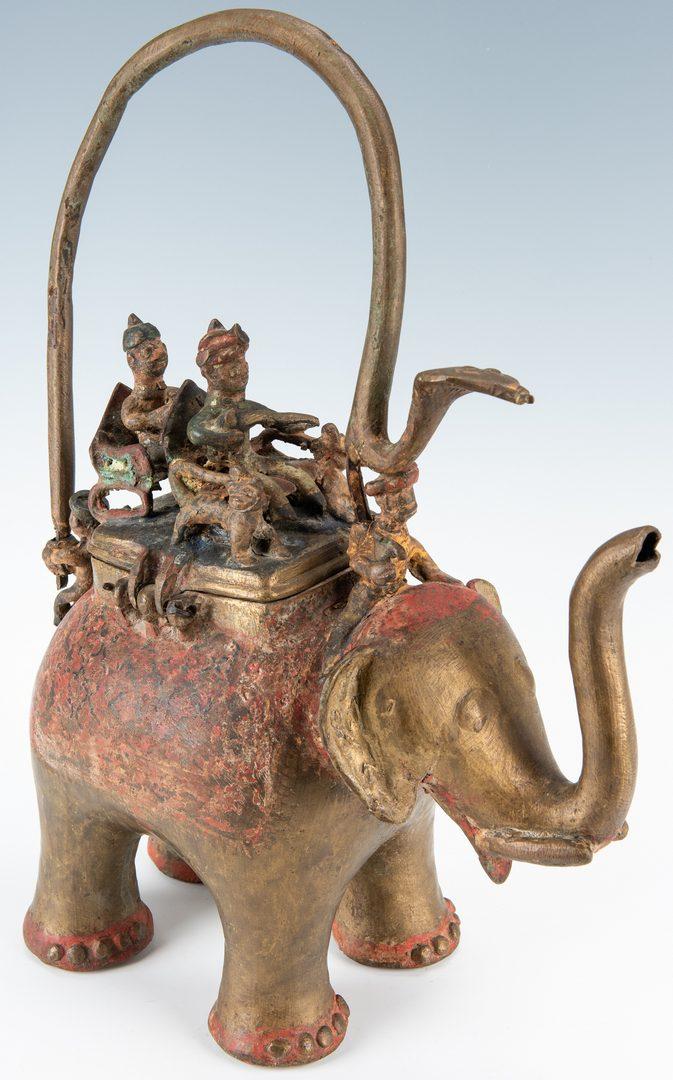 Lot 25: 3 Asian Elephant Figurals, inc. Bronze