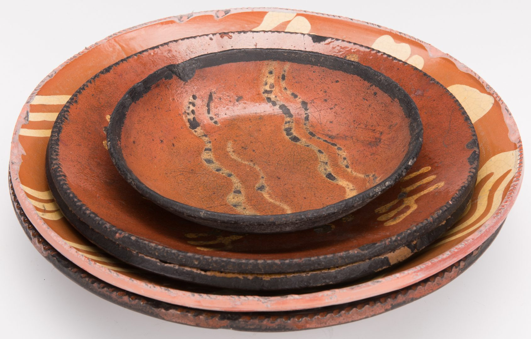 Lot 260: 5 Slipware Decorated Redware Pieces, incl 19th Cent.