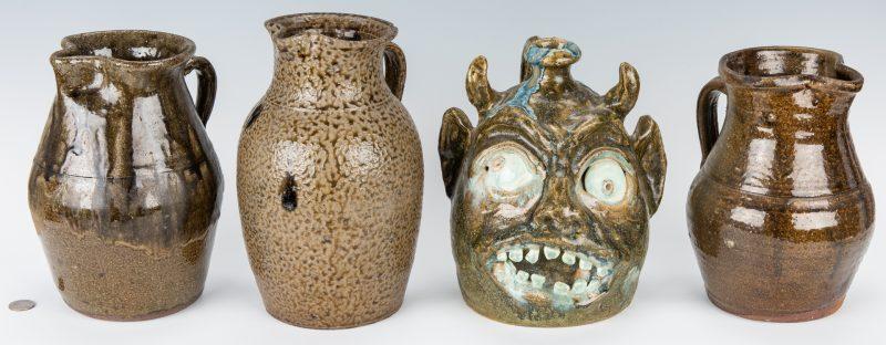 Lot 262: 4 Southern Folk Pottery Pcs. inc. Face Jug