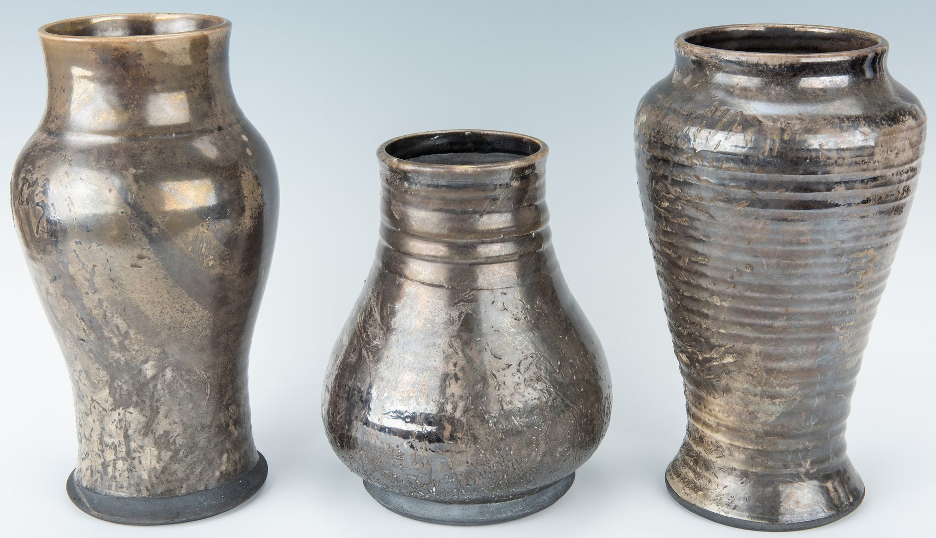 Lot 266: 3 Asian Contemporary Pottery Vases