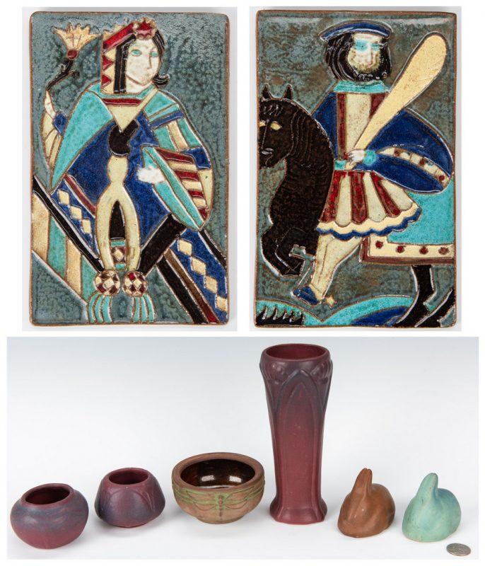Lot 267: 4 Pcs Van Briggle Art Pottery, 2 Ceramic Tiles & 2 others