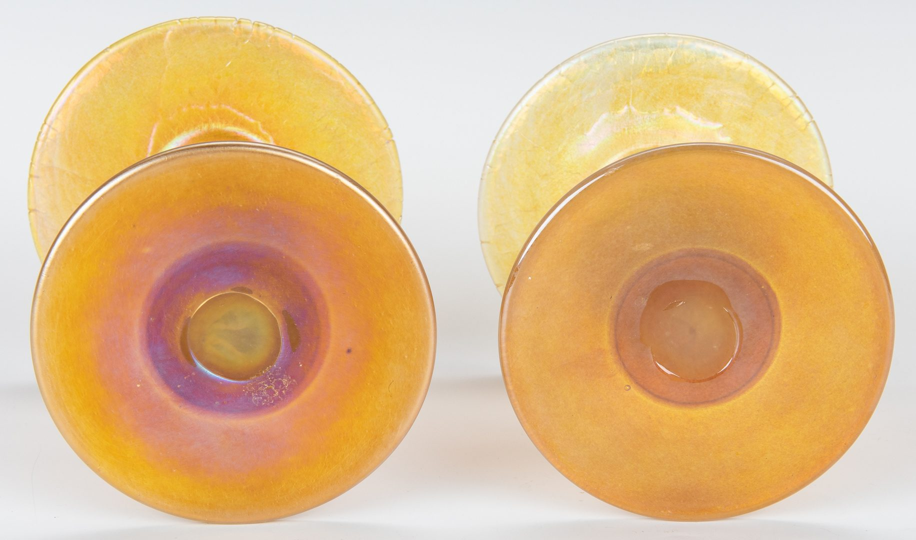 Lot 269: Pair Iridescent Gold Art Glass Candlesticks