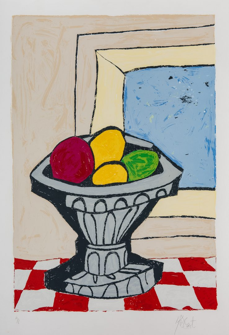 Lot 273: 2 Kurt Vonnegut Serigraphs, Bowl of Fruit & Flowers in Vase