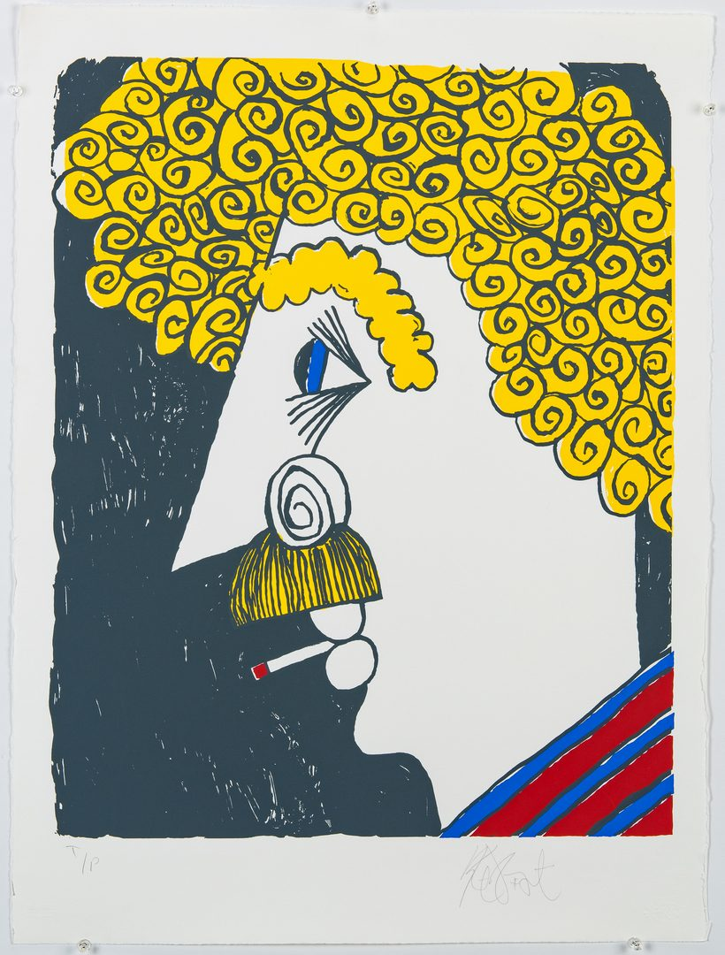 Lot 274: K. Vonnegut Self Portrait Print, t/p