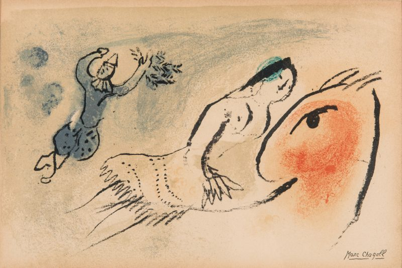 "Lot 279: Marc Chagall Colored Lithograph ""La Petite Ecuyere"""