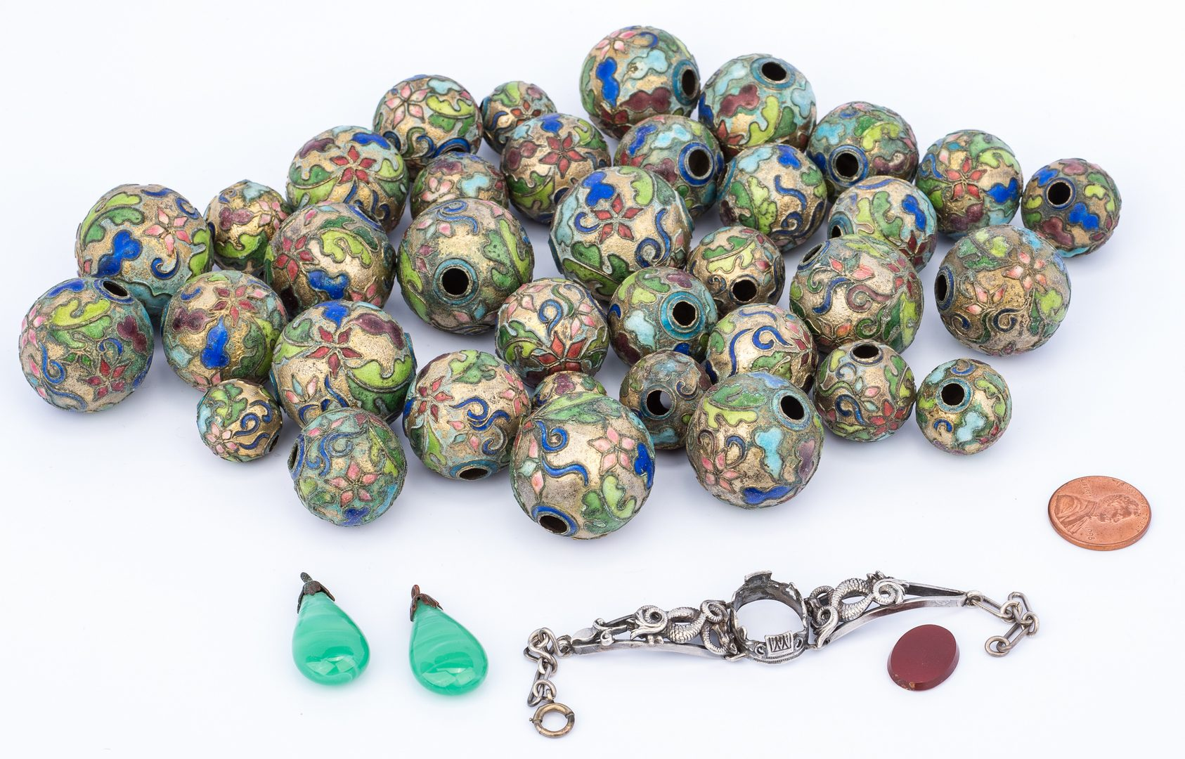 Lot 27: 3 Asian Jewelry Items, inc. Cloisonne Beads