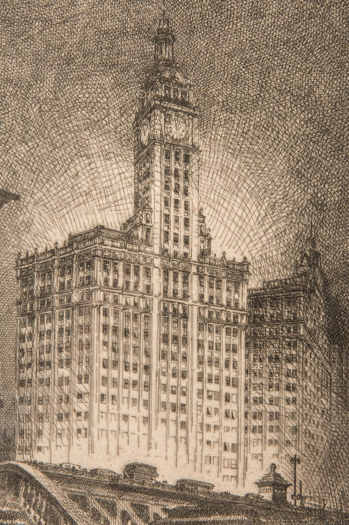 Lot 281: Leon Pescheret etching of Wrigley Building