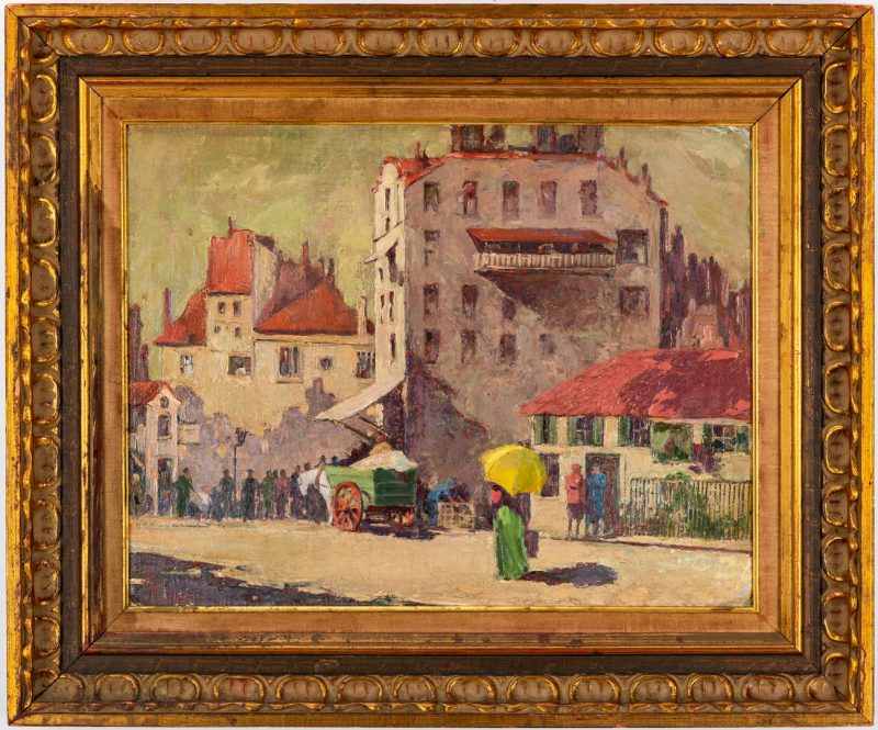 Lot 287: Arthur Emil Regnas Oil on Canvas Street Scene