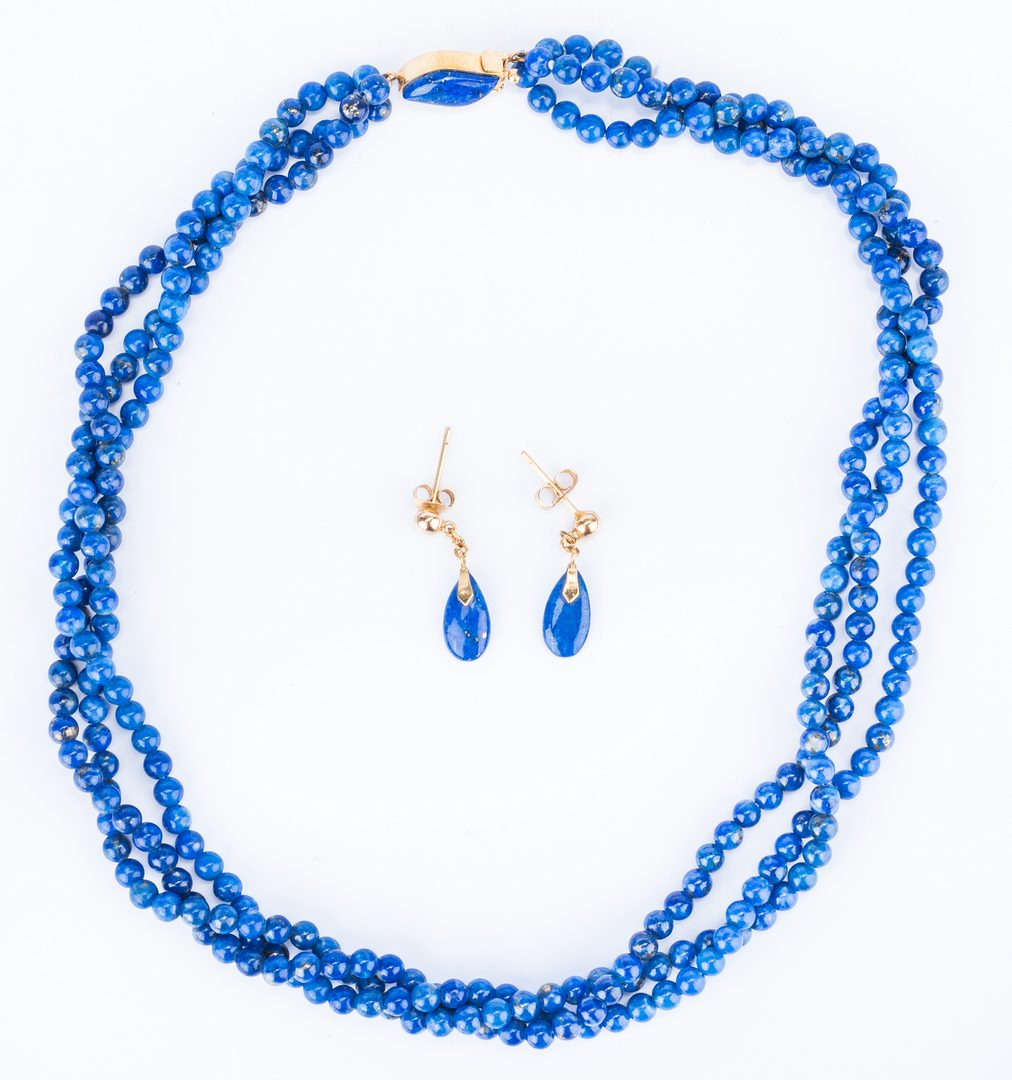 Lot 28: (8) Gold & Semi-precious Stone Jewelry Items
