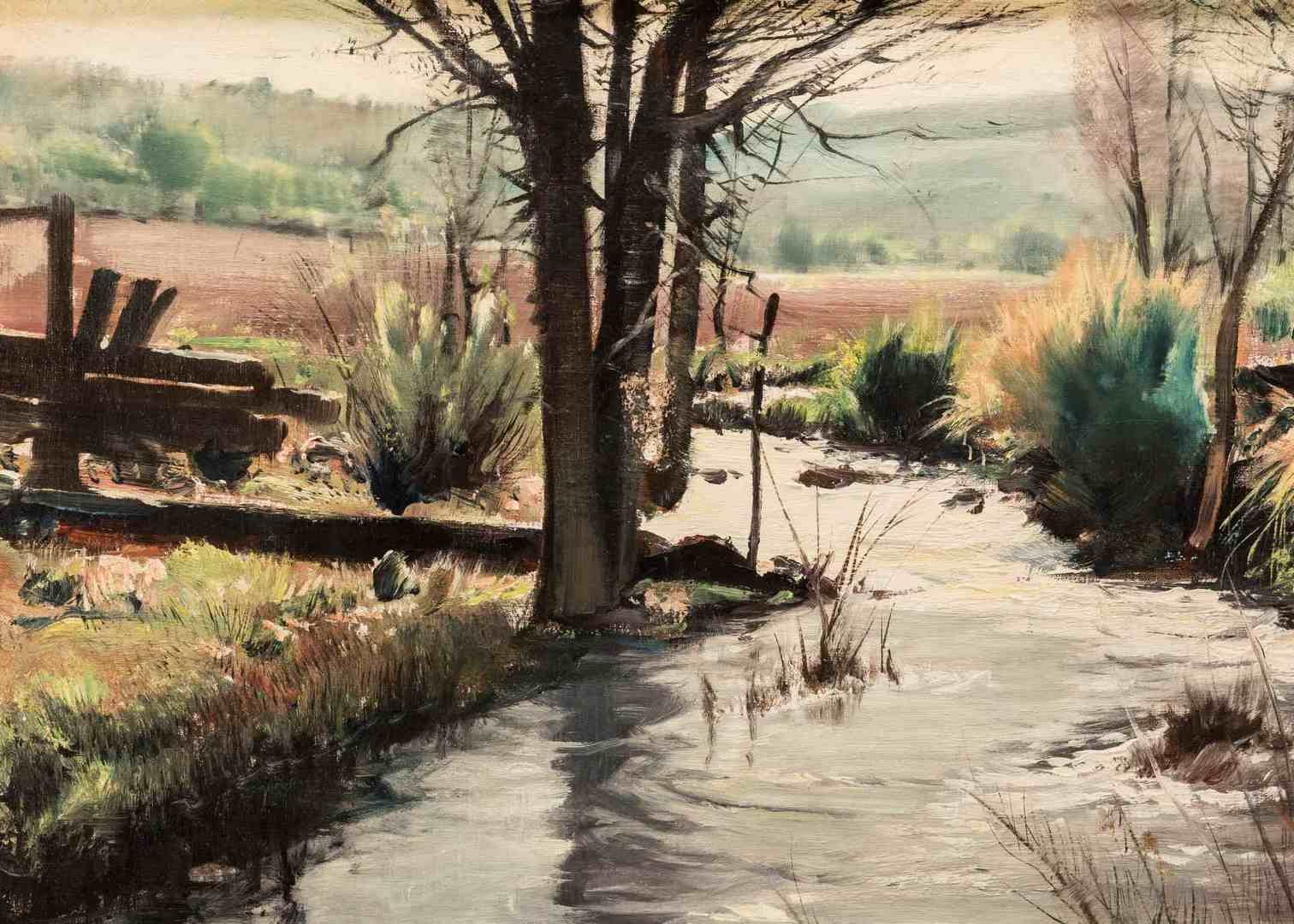Lot 290: Paul Lauritz, O/C, Landscape with Creek