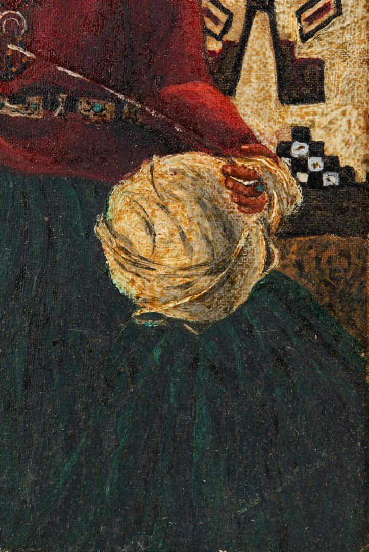 Lot 293: Native American Oil on Board Portrait