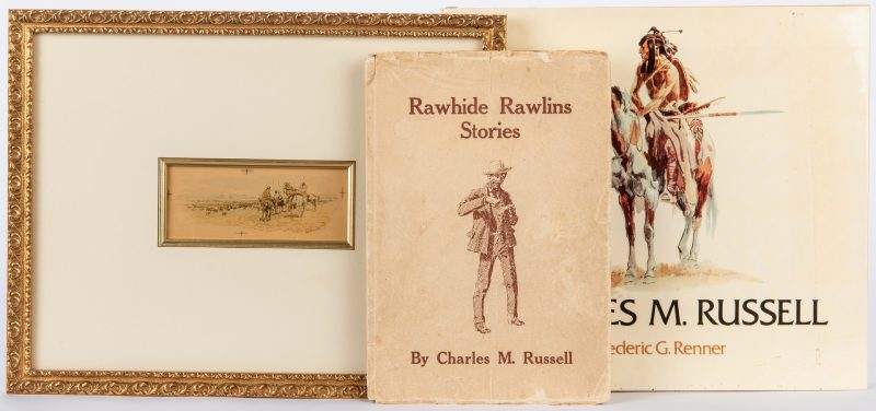 Lot 296: Charles Russell Lithograph & 2 Related Books